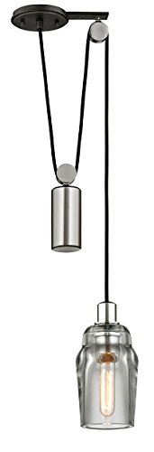 Troy Lighting F5992 Citizen 1-Light Mini Pulley Pendant - Graphite and Polished Nickel - Clear Pressed Glass Shade,
