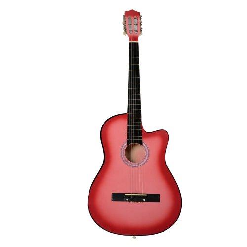 linonil 38 Inch Cutaway Acoustic Guitars with Guitar Plectrum Pink ()