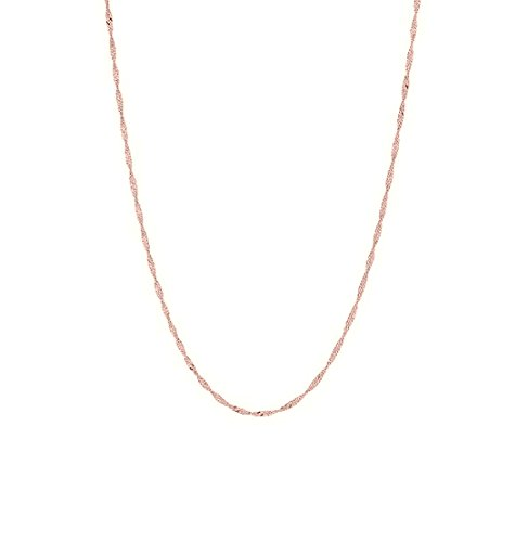 14k Solid Rose Pink Gold Singapore Chain Necklace 16 Inches