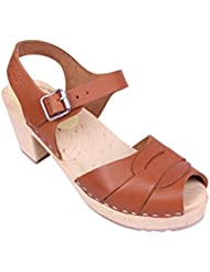 Lotta From Stockholm Swedish Clogs : Peep Toe Clogs In Tan Leather