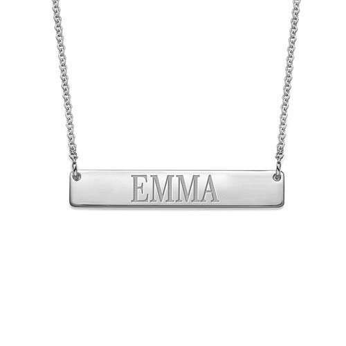 HACOOL 925 Sterling Silver Personalized Bar Necklace,Customized with Your Names