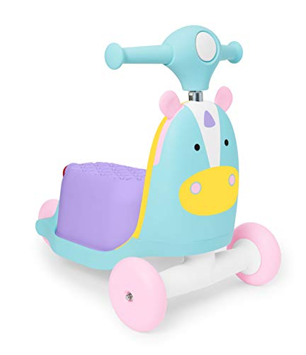 Skip Hop Kids 3-en-1 Ride On Scooter y Wagon Toy, Unicornio