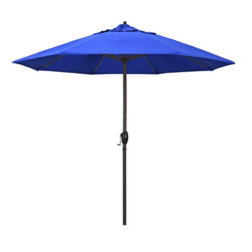 California Umbrella 9 Round Aluminum Market Umbrella, Crank Lift, Auto Tilt, Bronze Pole, Sunbrella Pacific Blue