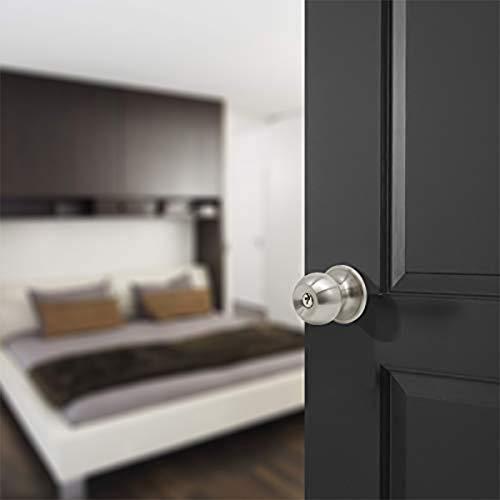 Probrico Satin Nickel Finish One Keyway Door Knobs Hardware Entry with Key Handles Keyed Alike Door Lockset, 3 Pack, Keyed Hardware by Probrico (Image #2)