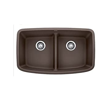 Blanco 442203 Valea 2.0 Low Divide 32x19 Café Brown Valea Equal Double Bowl  With Low