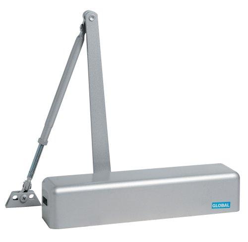 Global Door Controls Commercial Full Cover Door Closer in Aluminum with Adjustable Spring Tension - Sizes 2-6