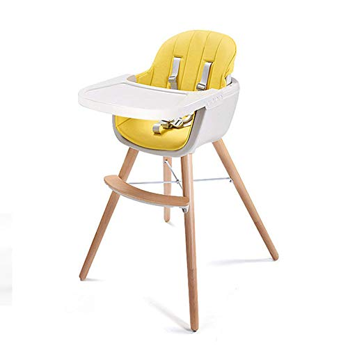 Wood High Chair Baby 3 in 1 Convertible Highchair Solution with Cushion Infant Adjustable Chair