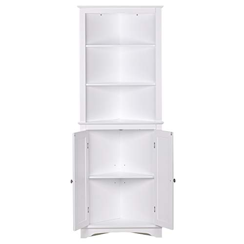 Spirich Home Tall Corner Cabinet With Two Doors And Three Tier Shelves Free Standing Corner Storage Cabinet For Bathroom Kitchen Living Room Or Bedroom White Pricepulse