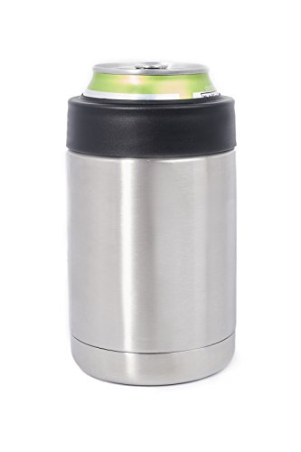 12 OZ Stainless Steel Can Bottle Beverage Holder Insulator Coaster Featuring Double Vacuum Insulation Will Keep Your Drinks Hot & Ice Cold For Hours. Fits regular sized 12 OZ Soda Cans & Beer Bottles