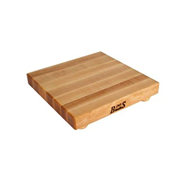 John Boos Maple Edge Grain Cutting Board with Feet, 12 Inches Square, 1.5 Inches Thick
