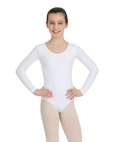 Capezio Little Girls' Team Basics Long Sleeve Leotard,White,S (4-6)