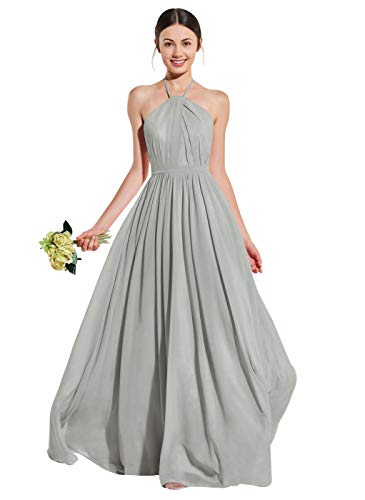 Women's Open Back A Line Halter Ruffled Chiffon Party Prom Dress Long Evening Gown Silver Gray Size 4 (Halter Ruffled Evening Gown)