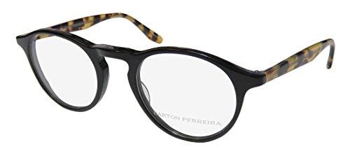 Barton Perreira Mcgraw Mens/Womens Designer Full-Rim Shape Beautiful Adult Size Eyeglasses/Eyeglass Frame (46-21-145, Black) (46-21-145, Black/Tortoise Pattern)