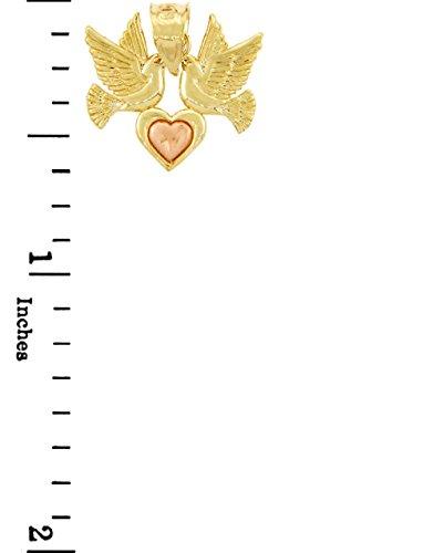 10 ct 471/1000 Or Avec Deux Tons Coeur- Avec Rencontres Oiseaux Pendentif