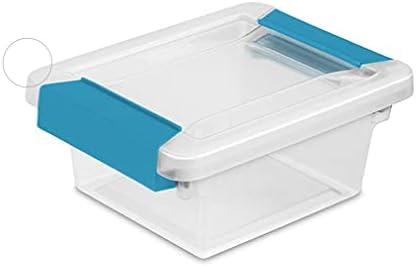 30 Pack Sterilite Mini Plastic Storage Container with Aquarium Blue Latches