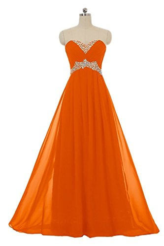 Snowskite Sweetheart Long Chiffon Beading Holiday Party Formal Prom Dress Orange 26 by Snowskite