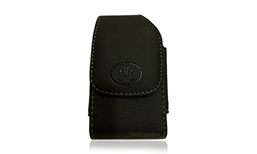 Nexa Extra Small Universal Vertical Leather Cell Phone Holster With Belt Clip   Black