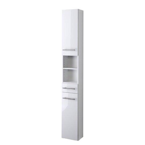 Held Möbel 140.2096 Small Seitenschrank , 2 türig / 1 Schubkasten / 3 Einlegeböden / 25 x 181 x 20 cm, Hochglanz-weiß