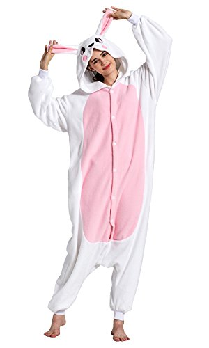 Gay Couple Halloween Costumes (KING FUN Adult Animal Costume Unisex Pajamas White Bunny Cosplay Onesie Small A14)