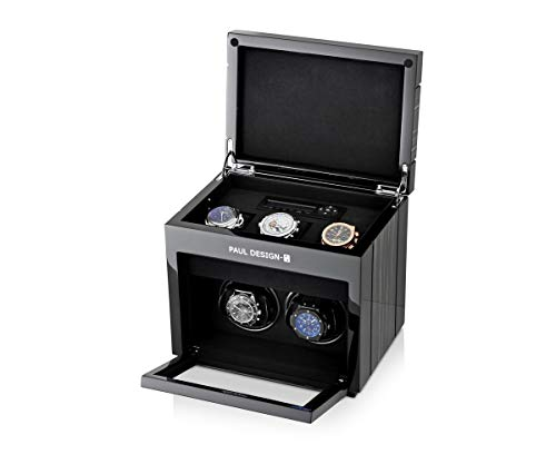 Slot Watch Winder (2+3 Watch Winder for 2 Automatic Watches with 3 Storage Slots, LED Backlight and LCD Display (Black Shadow))