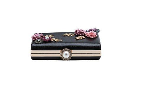 BABEYOND Caso duro del bolso del partido del embrague elegante rama de la flor de la tarde del embrague de las mujeres Negro