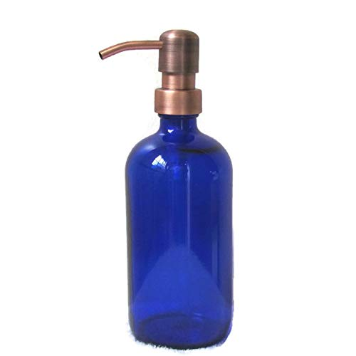 Antique Copper Soap - Craft Innovation Cobalt Blue Glass Soap Dispenser 16 Ounce with Antique Copper Soap Dispenser Pump