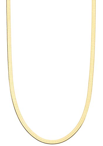 Miabella 18K Gold Over Sterling Silver Italian Solid 3.5mm Flexible Flat Herringbone Chain Necklace for Women Men 16, 18, 20, 22, 24, 26, 30 Inch Made in Italy (22)