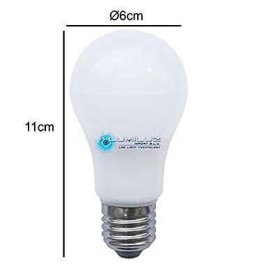 Pack de 5 bombillas Led 12W E27 (Rosca gorda), 3000K luz cálida, 960 lúmenes, 12W equivalente a 120W, Encendido instantaneo sin parpadeos, A++, ...