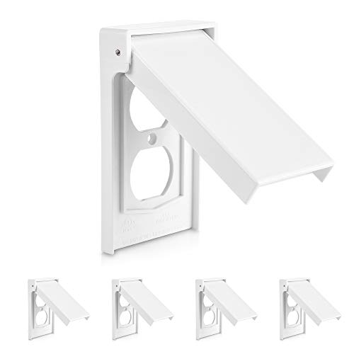 (Cable Matters 5 Pack Weather Resistant Duplex Wall Plate/Vertical Outdoor Outlet Cover in White)