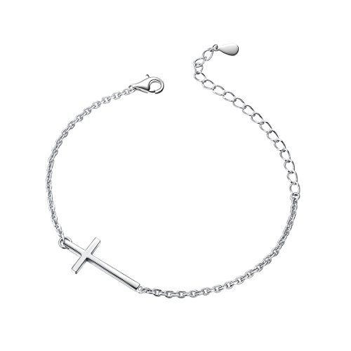 ALPHM S925 Sterling Silver Cross Small Sideways Baptism Communion Bracelet for Girl Boy Jewelry