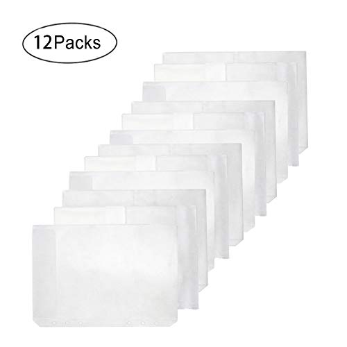 Eilova 6 Holes Clear PVC Binder Pockets Sheet Protector 6-Ring Loose-Leaf Planner Notebook Refills Business Card Holder File Document Pouch Storage Bag Pencil Case(A5, 12Pack)