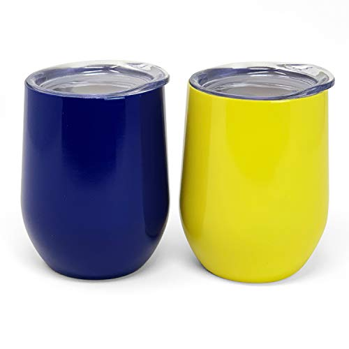Maize Collection - The Spirited Collection Stainless Steel Wine Glasses | Set of 2-12 oz (Blue and Maize)