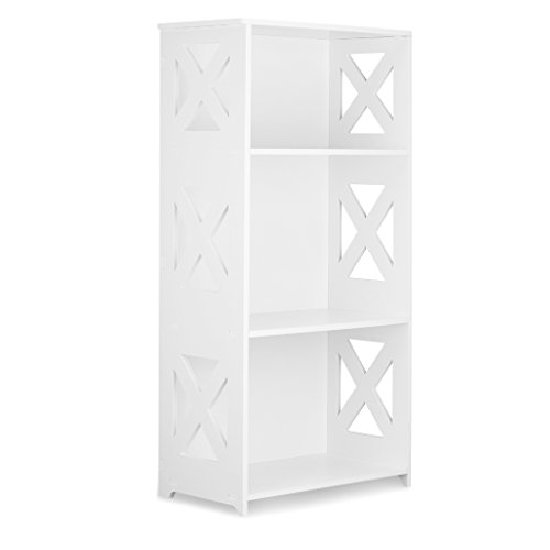 Finether 3-Tier Modular Side Cross Cut-Out Wood Plastic Composite Shelf Unit White Bookcase Storage Organizer Display, SGS Certified
