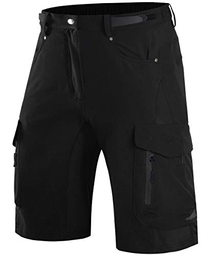 Wespornow Men's-Mountain-Bike-MTB-Cycling-Shorts (Black, M)