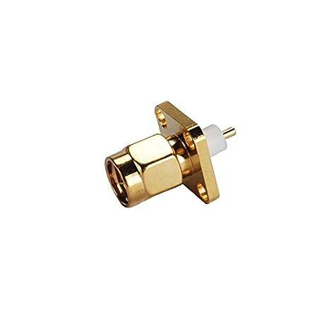 2 conectores de aleación de cobre para terminales de cable Rf SMA con 4 agujeros para montaje en panel con dieléctrica extendida y soldadura para terminales ...