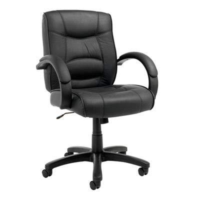 (ALERA SR42LS10B Strada Series Mid-Back Swivel/Tilt Chair w/Black Top-Grain Leather Upholstery)