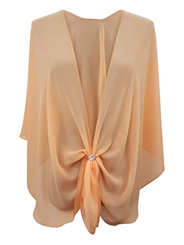 eXcaped Women's Evening Shawl Wrap Sheer Chiffon Open Front Cape and Silver Scarf Ring (Apricot)