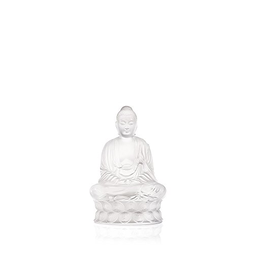 LALIQUE Clear 100% Crystal Small Hand Made Sitting Buddha H 7.09