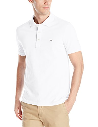 Lacoste Men's Short Sleeve Slim Fit Stretch Petit Piqué Polo, White, ()