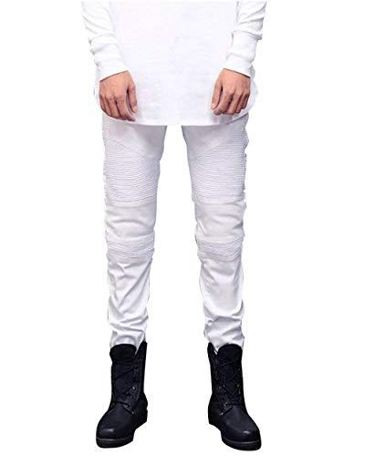 Denim Uomo Huixin Fit Piccoli E Elastici In Moto Jeans Motociclista Skinny Casual Stropicciati Pantaloni Da Alti Bianca Slim XwIwqR