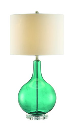 Coaster Company of America 901554 Table Lamp - Dimensions: 15.5W x 15.5D x 30H in. Base built of teal colored glass Chrome finish - lamps, bedroom-decor, bedroom - 31d3udfoLQL -