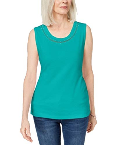 Karen Scott Cotton Studded Tank Top (Crisp Teal, XXL)