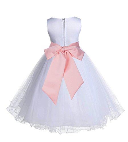 ekidsbridal Wedding Pageant White Flower Girl Rattail Edge Tulle Dress 829s (10, Bellini - White Peach