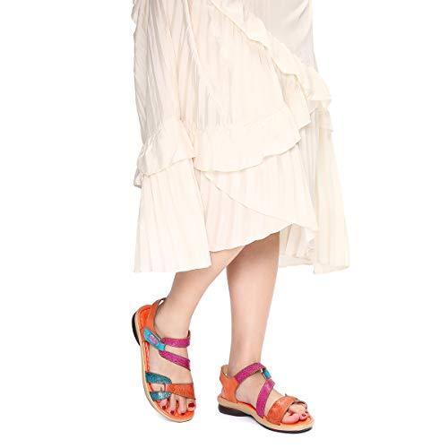 Verano Gracosy 37 Naranja Mano De Romanas A Cuero Planas Bohemia Grande Para Zapatos Dedo Talla Mujer Sandalias Estilo Púrpura Chanclas Rosa Los Rojo 42 2019 Azul Hecho qrnrOtWR