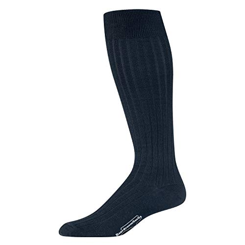 (Boardroom Socks Men's Merino Wool Over-the-Calf Ribbed Dress Socks, Dark Navy)