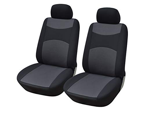 Protech Auto 116001 Black-Fabric 2 Front Car Seat Covers Compatible