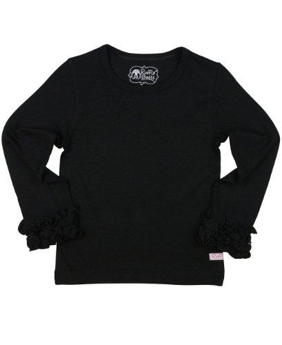 RuffleButts Girls Ruffled Long Sleeve Undershirt Tee - Black - 6