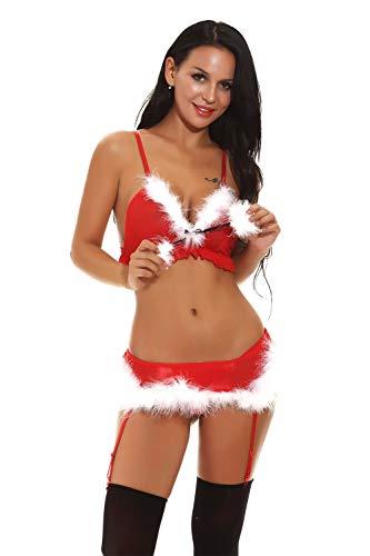 (Womens Sexy Christmas Lingerie Red Babydolls Santa Costume Chemise Bikini Set)