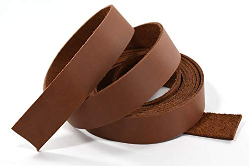 Tanned Brown Leather - LeatherRush 5-6oz Oil-Tanned Leather Strip Brown 1