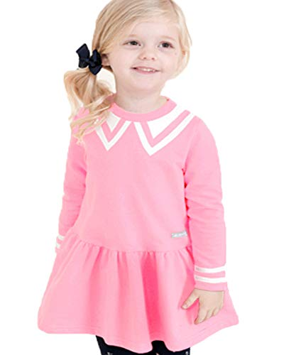 CuteMe Baby Girls' Long Sleeve Cotton Twirly Dress Robe Outfit Shirt Crew Collar Adorable Princess Top and Skirt for Your Sweetheart(107,Pink,110)